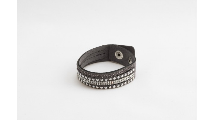 Grey leather bracelet