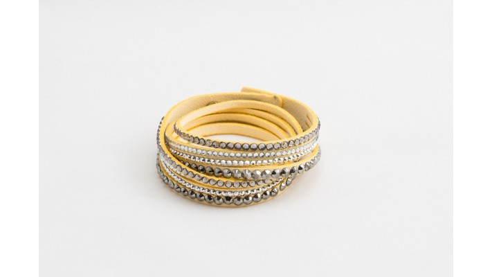 Long leather beige bracelet