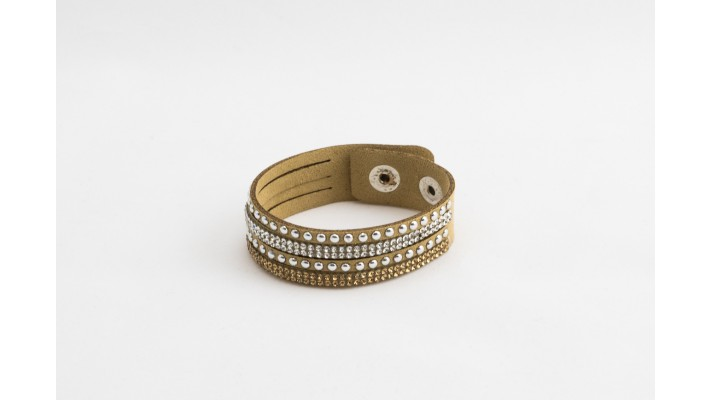 Beige leather short bracelet