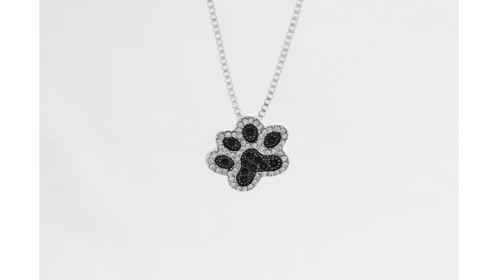 Black  clear stone Paw Necklace