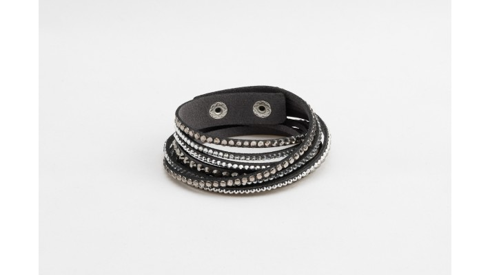 Grey long leather  bracelet