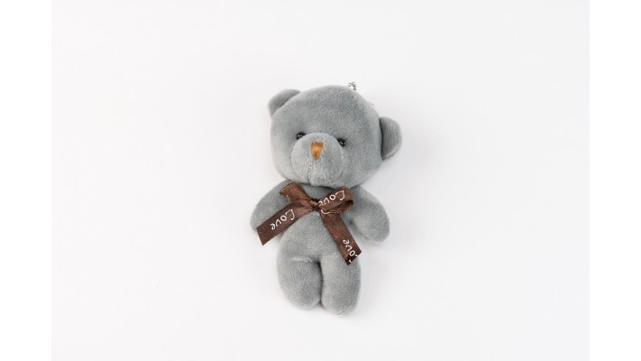 Mini Grey Teddy bear Keychain