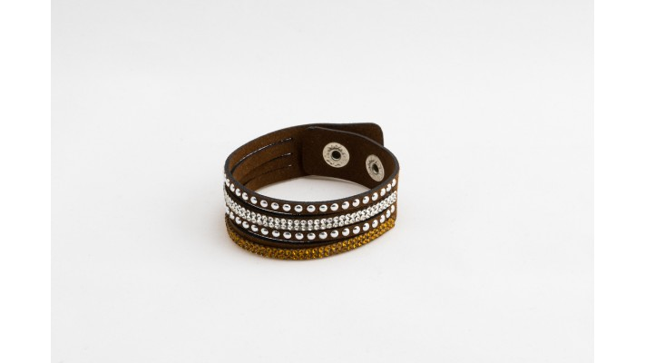 Short brown leather bracelet