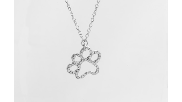 Silver clear stone Paw Necklace