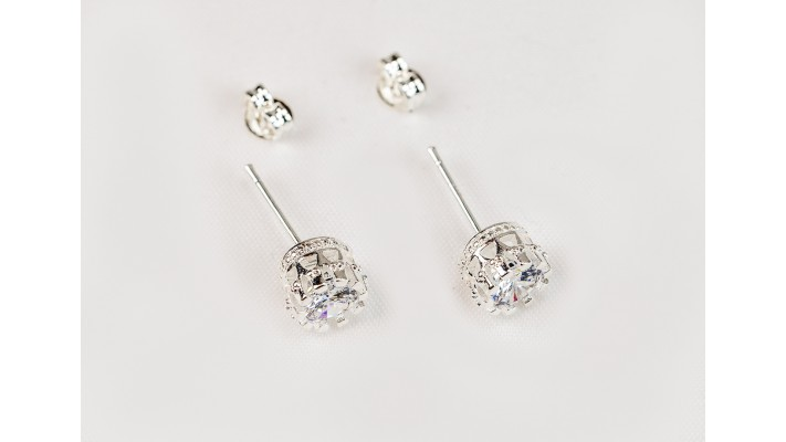 Crown Princess cubic zirconia stud earrings
